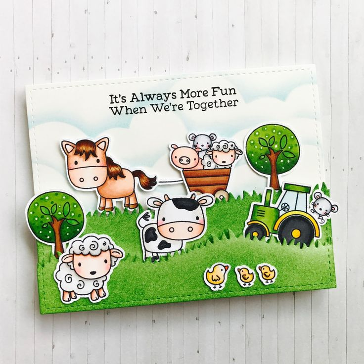 Happy Fri-Yay!!! Today I have for you a hidden slider card using the adorable Farm Friends stamp set from MFT. I started the ca...