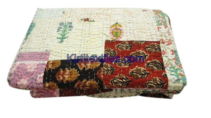 Cotton Fabric Made Vintage Style Patchwork Gudri Elegant Printed Sanganeri Hand Block Printed Bedspread Throw From Jaipur Rajasthan India