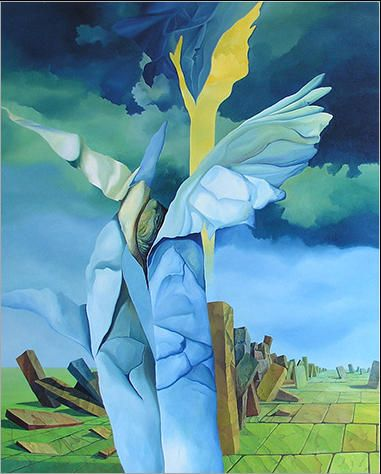 Kamienny anioł 81 x 65 cm olej na płótnie