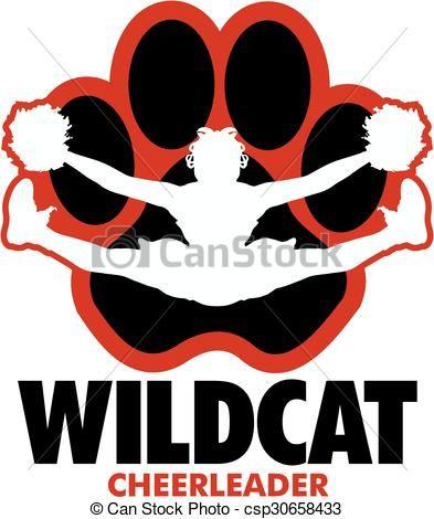 vector wildcat cheerleader stock illustration royalty