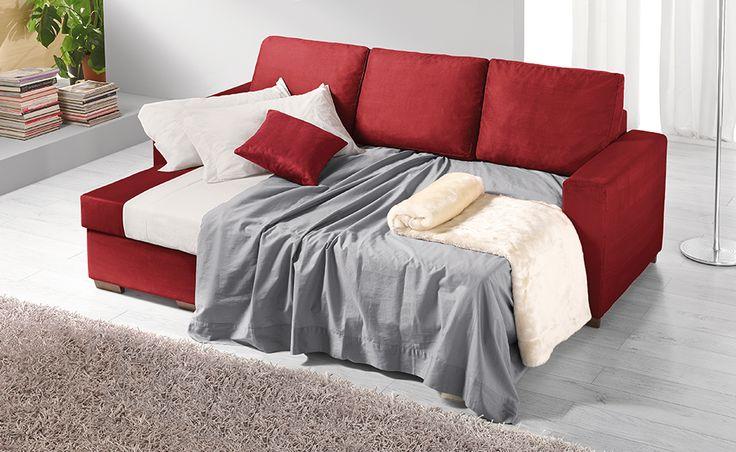 Orlando in microfibra bordeaux è il divano letto giovane che per te si fa in tre.