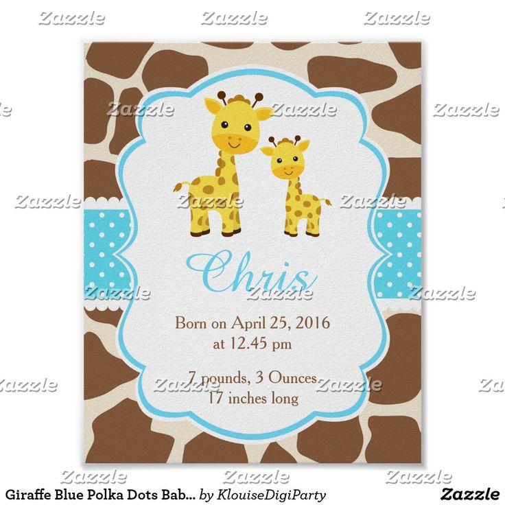 Giraffe Blue Polka Dots Baby Nursery Wall Art