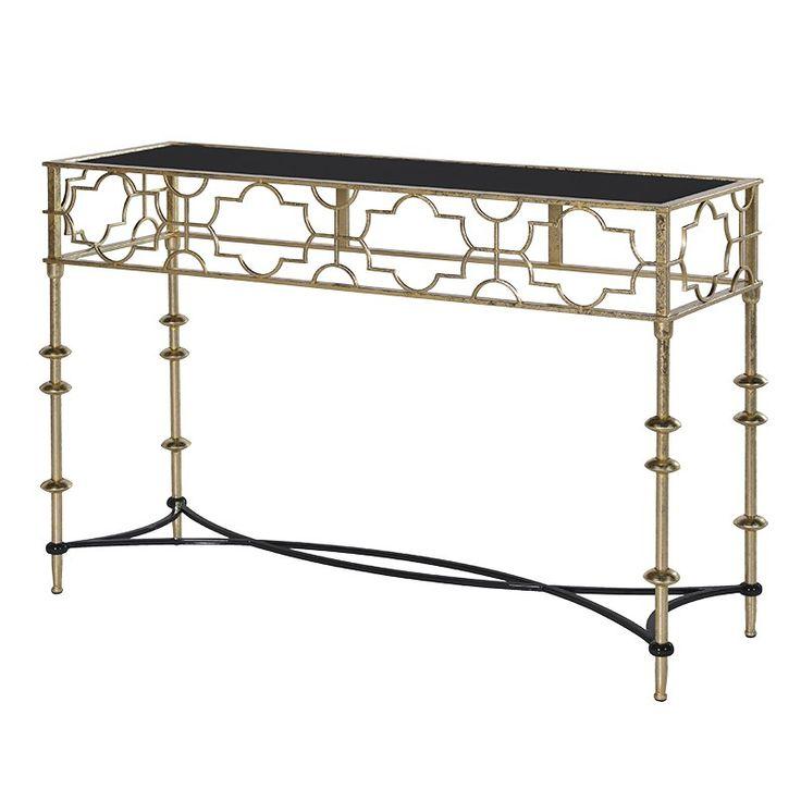Modernt konsolbord i metall och glas. Stomme av mattguld och svart, på toppen en svart glasskiva. Använd som en solitär eller bakom soffan med 2 lampor på.