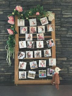 Maya's first year in photos, frame in white ::::: Woodland Birthday Party on Canadian Mountain Chic