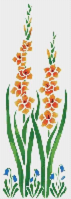 Orange Flower Counted Cross Stitch Pattern Chart