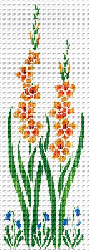 Orange Flower Counted Cross Stitch Pattern Chart