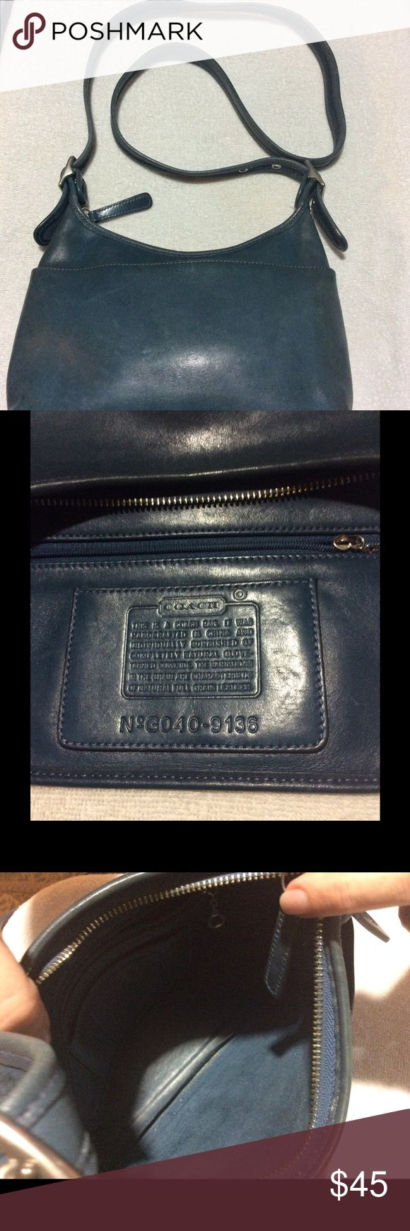 """Blue Coach Hobo Used but still in great shape. Grayish blue hobo bag, all leather, from Coach. Silver tone hardware and adjustable strap, max drop is 23"""". Coach Bags Hobos"""