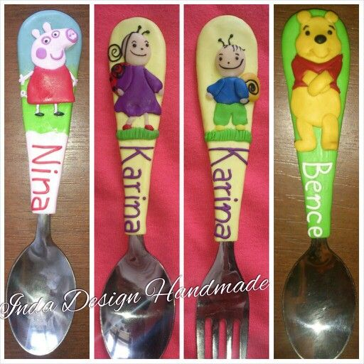My creations. Children Personalized Name Cutlery. Unique Gift Handmade. Winnie the Pooh