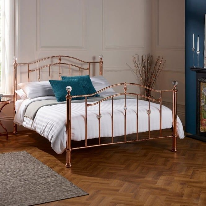 Ashl500rgbed Ashley 5ft King Size Rose Gold Bed Gold Bed Rose Gold Bed Metal Bed Frame
