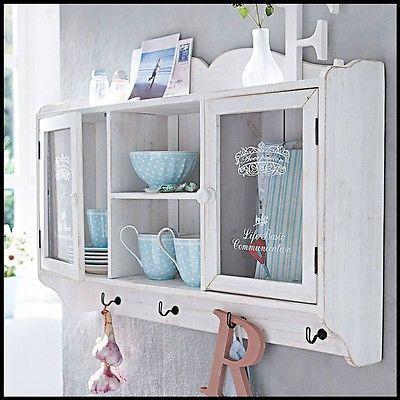 Kitchen Wall Cabinet Dresser Vintage Hanging Storage Cookware Unit Plates Rack