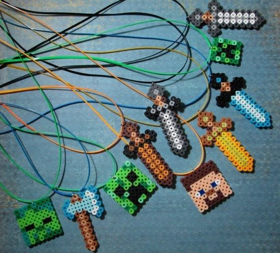 Minecraft Inspired necklaces. Looks like a good rainy day craft for my minecraft-obsessed children. Already have the perler beads