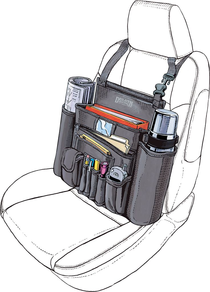 The Cab Commander car organizer from Duluth Trading Company is a bag that sits on the seat next to you and has a place for everything.
