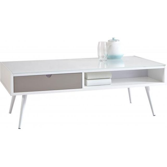 table basse rectangulaire grise blanche domino deco mobilier de salon esprit scandinave. Black Bedroom Furniture Sets. Home Design Ideas