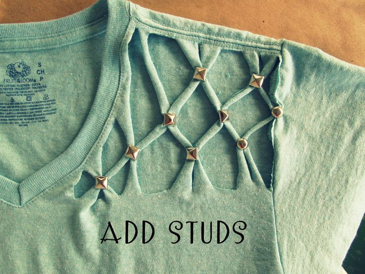 WobiSobi: No Sew, Lattice, Stud T-shirt DIY. http://wobisobi.blogspot.ca/2013/04/no-sew-lattice-stud-t-shirt-diy.html?m=1