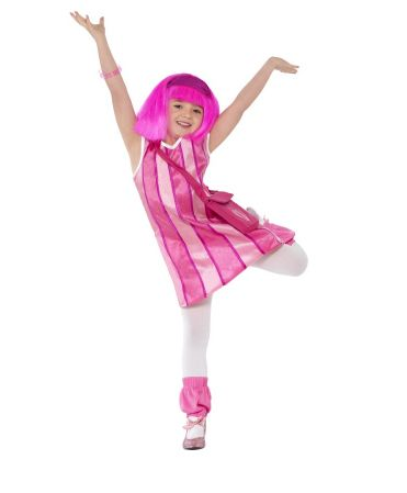 Lazy Town, Stephanie Costume  Code: FCKLTS-4  Lazy Town, Stephanie Costume, Child, Dress, Bag, Legwarmers. Dress up as one of your favourite characters in this great costume!  Availability Although we keep the most popular costumes in stock we do not stock every costume in every size but we can usually get them within 24 hours. If you need your costume within the next two working days please phone or email us to check availability. £13.95