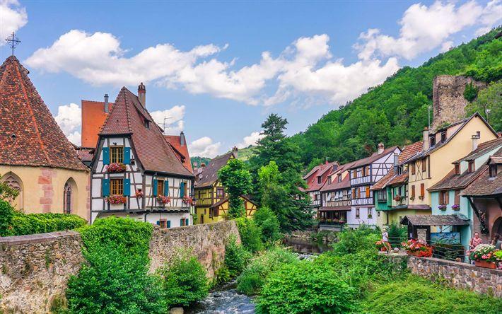 Download wallpapers Kaysersberg, old houses, river, summer, France, Europe