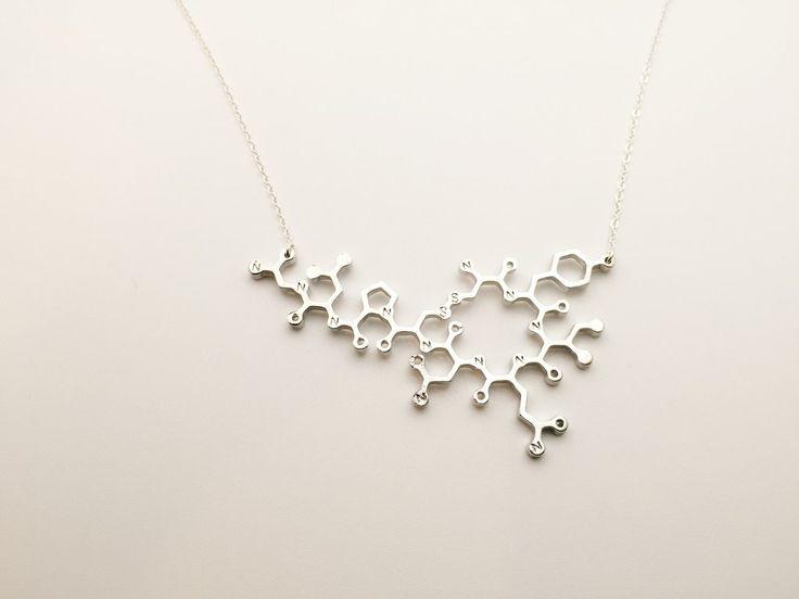 Beautiful Oxytocin Molecular Necklace. Oxytocin Molecule Necklace.Gift for Doctors, OBGYN, Mid-Wife, Scientists, Nurses, PhD, Physicians, Anatomy Teacher