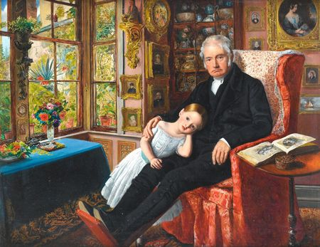 Sir John Everett Millais. Portrait of James Wyatt and his Granddaughter. 1849. A work packed with small details. Milais was a founding member of The Artists Rifles.