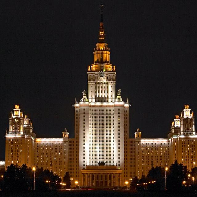 Moscow University at night   Feb 2011