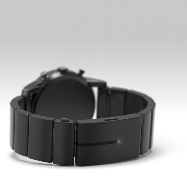 All of the smart technologies are hidden inside the surgical steel clasp, including NFC, activity tracking, and call/message notification via Bluetooth 4.0 connectivity.