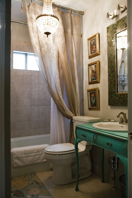 Notes to self for small ish bath take the tile all the way up gauzy curtain all the way up Neue design bathroom mirror