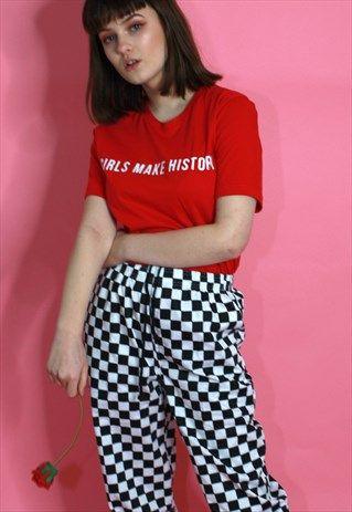GIRLS MAKE HISTORY FASHION SLOGAN T SHIRT