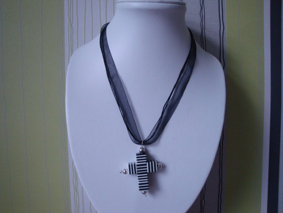 Black and White Cross by traceysjewellery on Etsy, £4.50