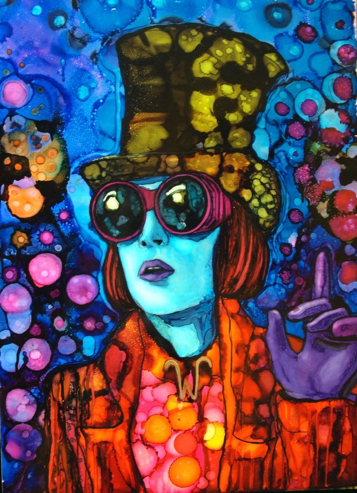"ARTFINDER: ""Good morning Starshine!"" by raffaella bertolini - Johnny Depp/Willy Wonka inspired painting.  ""Rainbow drops - suck them and you can spit in six different colours."" ― Roald Dahl, Charlie and the Chocolate F..."