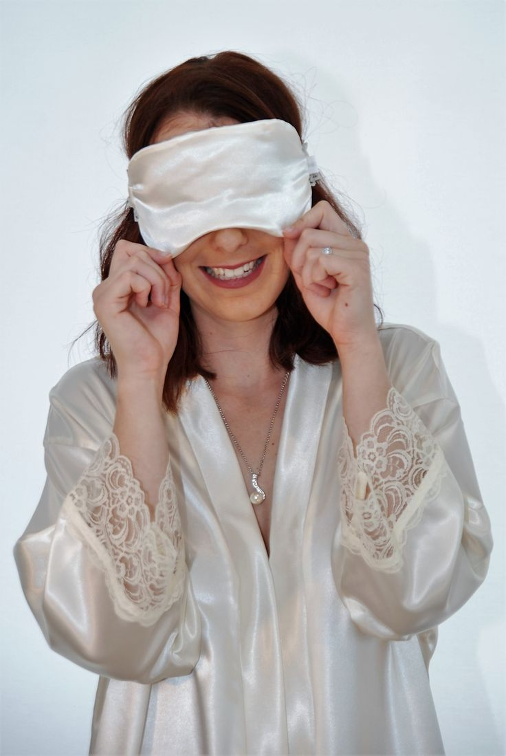 Lily White Satin and Lace Robe and Sleep Mask - generous overlay in the robes, and large face masks to cut out that early morning glare! Range of gorgeous colours #snugfit @www.angiejcollection.com.au