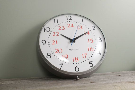 Vintage Large Schoolhouse / Factory Clock Big by NewfoundFinds