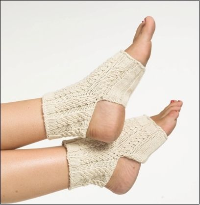 Cable knit yoga socks have toes and heel out so you can get a better grip on your yoga mat. Great project for beginners It will give you practice on making the cable stitch.