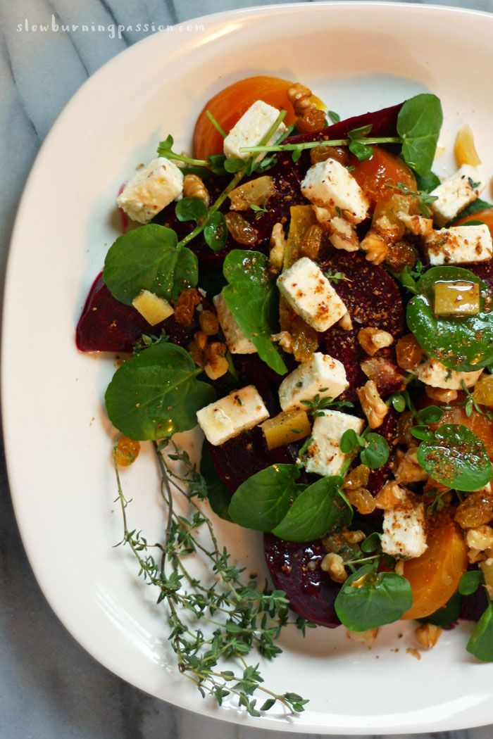 Roasted beet salad with watercress and preserved lemon and thyme marinated feta. It's dressed with sherry vinegar and walnut oil.