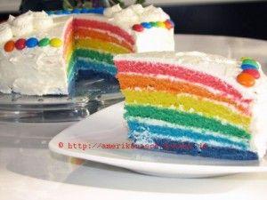 Regenbogenkuchen mit ORANGENCREME