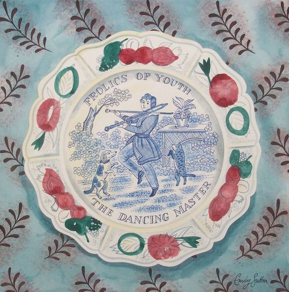 """Frolics Of Youth (The Dancing Master)"" from the ""Victorian Pottery"" series by Emily Sutton"