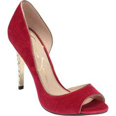 88.95 Jessica Simpson - The Saffron is a fashion-forward D'Orsay pump with a peep toe and a jewel accented stiletto heel.
