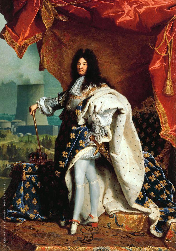 La France compte 58 réacteurs, quel héritage pour demain ?Portrait Louis XIV par Hyacinthe Rigaud sur fond de centrale nucléaire.© LES PETITS SUISSES - Design visuel