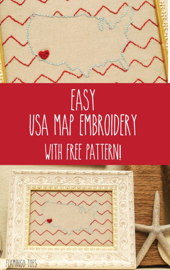 Map Usa States Abbreviations%0A Easy USA Map Embroidery with Free Pattern