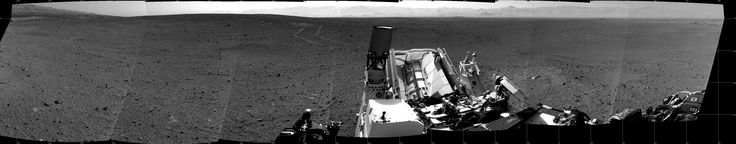 360-Degree Photo Shows Latest View from Mars Rover Curiosity -  Fresh tracks, from the rover's 70-foot (21-meter) drive on Aug. 30, 2012 are visible.  CREDIT: NASA/JPL-Caltech