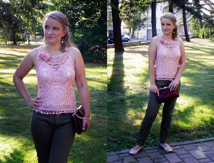 Pink crochet top with octagonal elements.