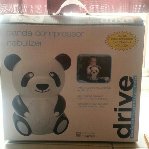 Panda Compressor Nebulizer Child-friendly design to encourage therapy compliance. **BONUS Coloring book and crayon included to entertain kids during neb treatments. Easy to replace filter. Powerful piston pump is efficient, dependable and quiet. Complete with disposable neb kit, mouth-piece, pediatric aerosol mask and instructions.   Helps your child sleep better at night or during the day after a long night of staying up coughing and can't breathe. I have two of them an works wonderful an…