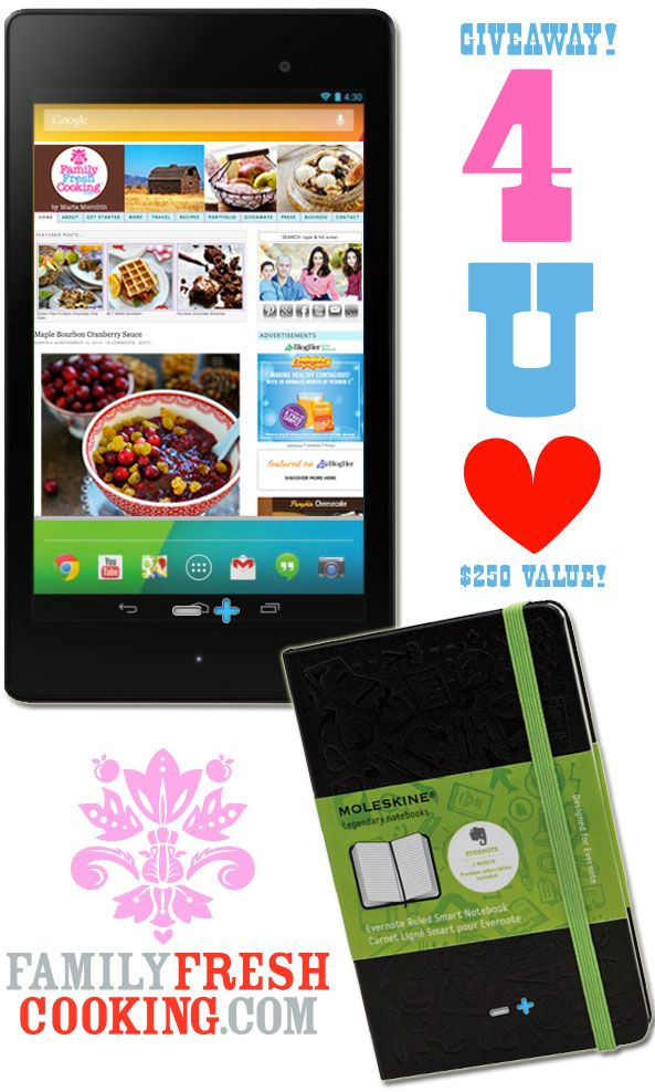 Google Nexus 7 Tablet & Moleskin Evernote Smart Notebook | Giveaway on FamilyFreshCooking.com
