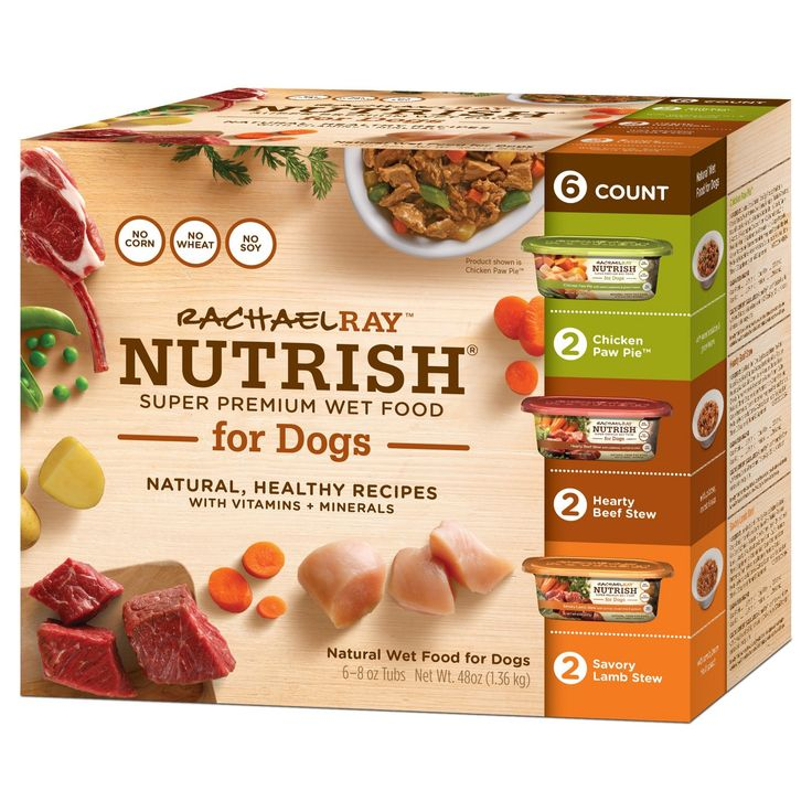 Rachael Ray Nutrish Wet Food for Dogs Variety Pack contains 3 different flavors of our natural wet dog food: Hearty Beef Stew, Chicken Paw Pie, and Savory Lamb Stew