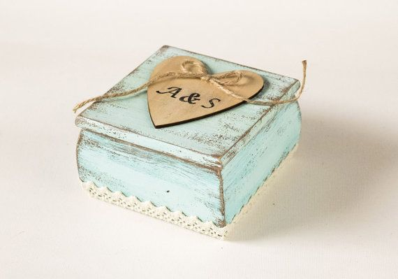 Wedding Ring Bearer Box with Pillow  Aqua Ring by MyHouseOfDreams