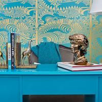 blue-and-gold-wallpaper - Design, decor, photos, pictures, ideas, inspiration, paint colors and remodel