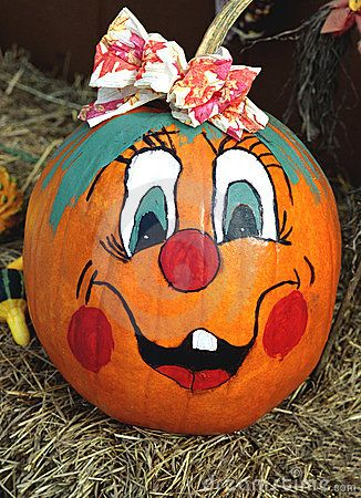 Happy Face Painted Pumpkin Stock Photos - Image: 6013063