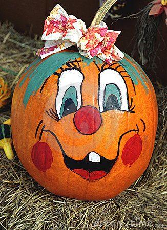 Happy Face Painted Pumpkin Stock Photos - Image: 6013063
