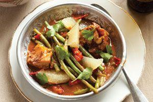 Rode curry met grapefruit en kip