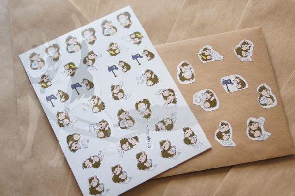 Наклейки Ежики пишут письма