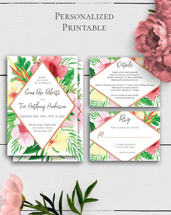 Tropical Flowers Wedding Invitation Set with lovely and amazing watercolor exotic flowers for the lovers of the trendy tropical style.Build your suite - choose your card combination by Amistyle Digital Art on Etsy