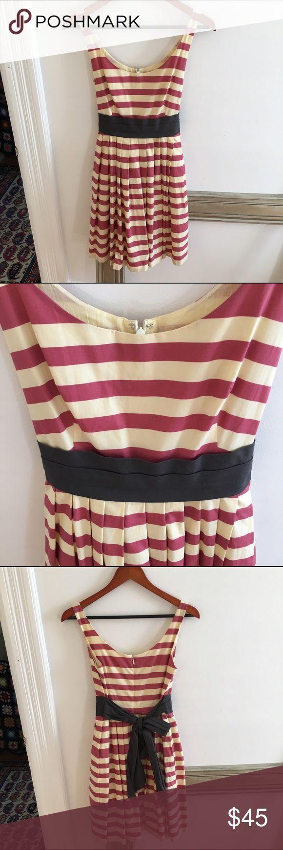 Corey Lynn Calter Striped Dress Anthropologie brand Corey Lynn Calter striped dress with tie. Zips in back, full skirt and pockets. EUC. Anthropologie Dresses